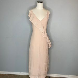 GRANA Chinese silk wrap ruffled cascade dress